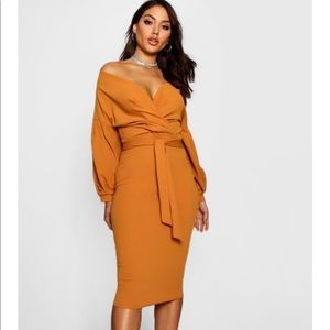 Boohoo Orange Midi Wrap Dress